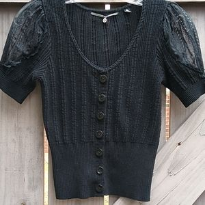 Anthro knitted & knotted black sweater XS
